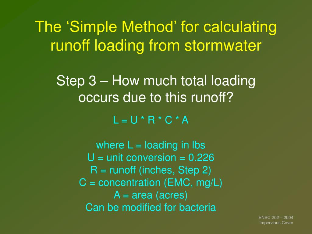 The 'Simple Method' for calculating runoff loading from stormwater