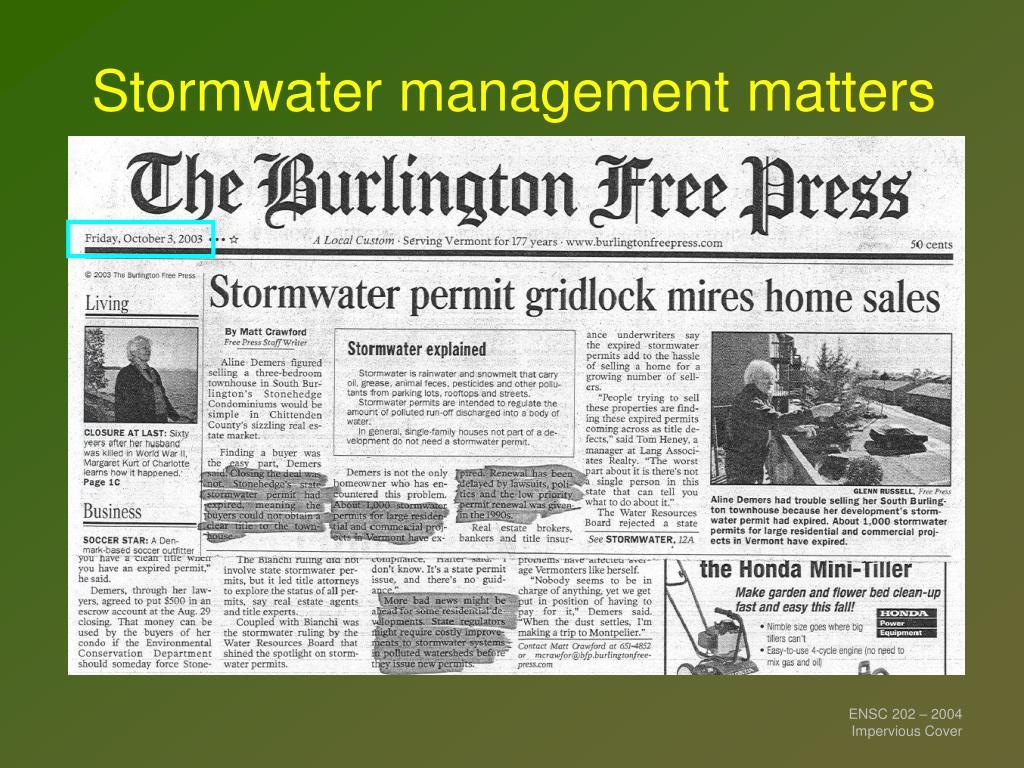 Stormwater management matters