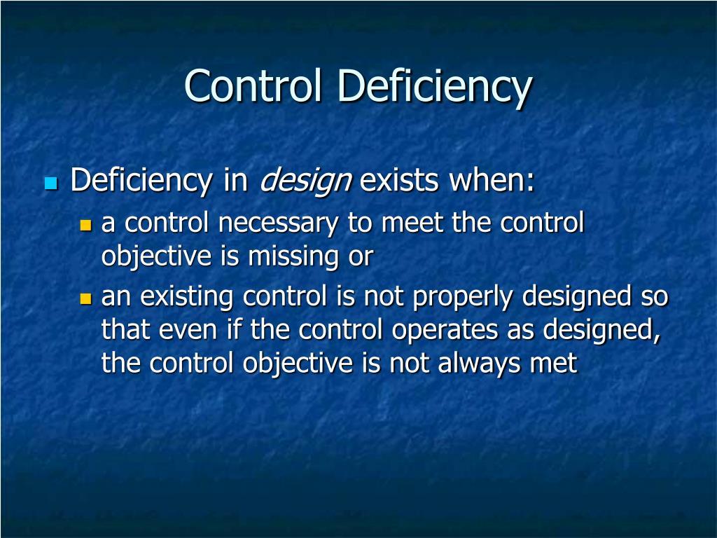 Control Deficiency
