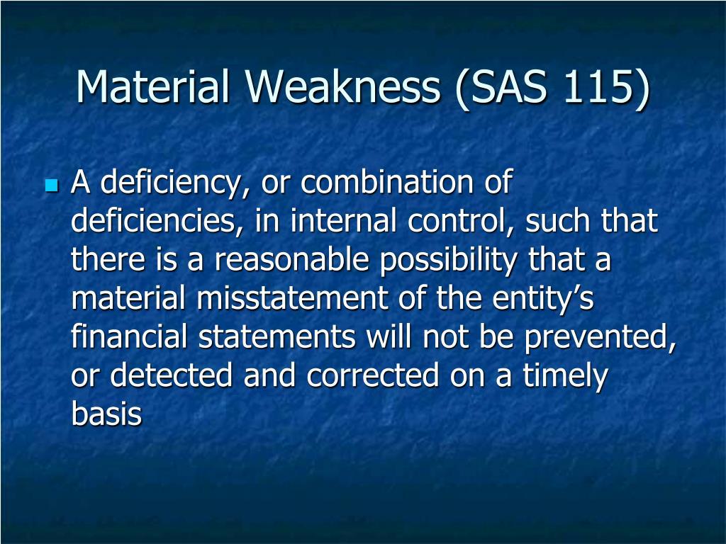 Material Weakness (SAS 115)
