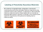 labeling of potentially hazardous materials