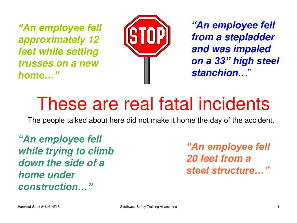 """""""An employee fell from a stepladder and was impaled on a 33"""" high steel stanchion"""