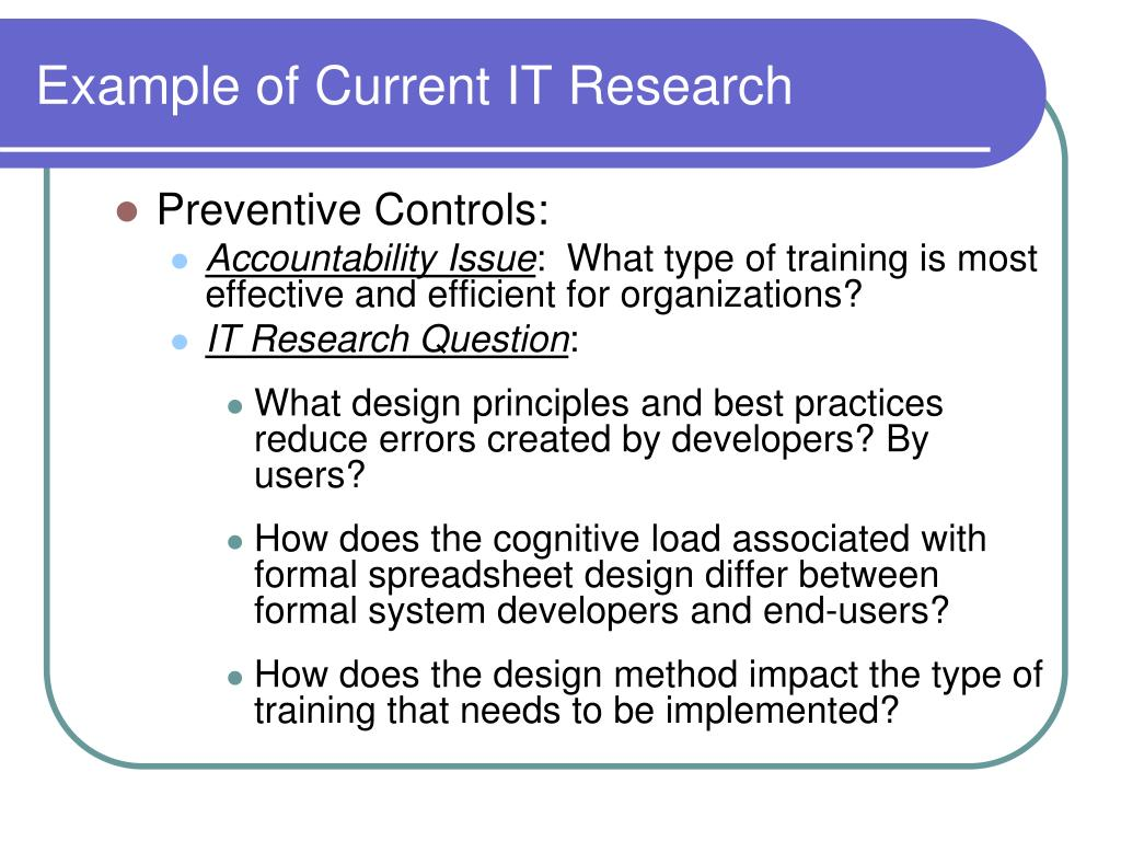 Example of Current IT Research