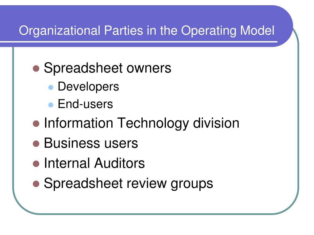 Organizational Parties in the Operating Model
