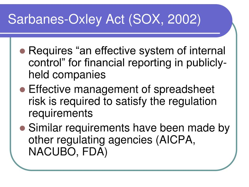 Sarbanes-Oxley Act (SOX, 2002)