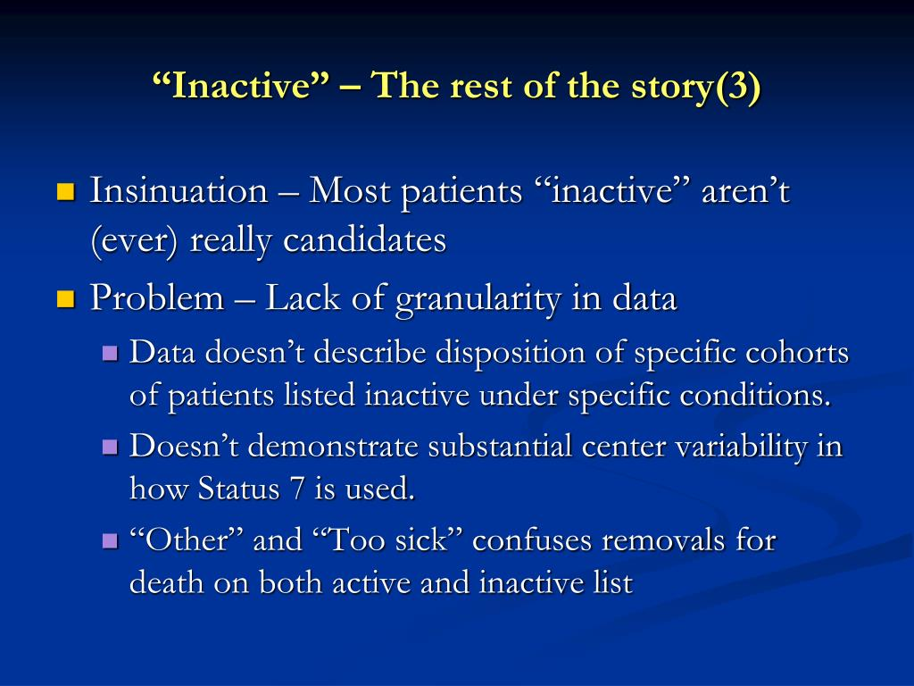 """Inactive"" – The rest of the story(3)"