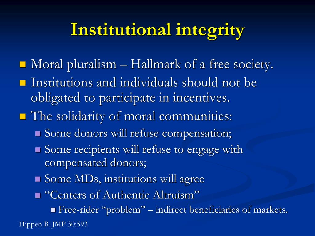 Institutional integrity