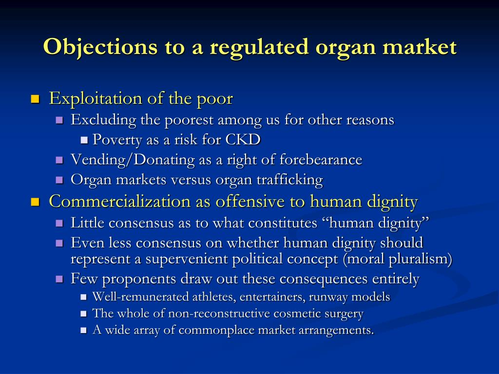 Objections to a regulated organ market