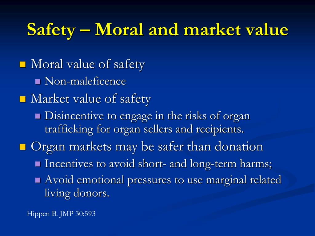 Safety – Moral and market value
