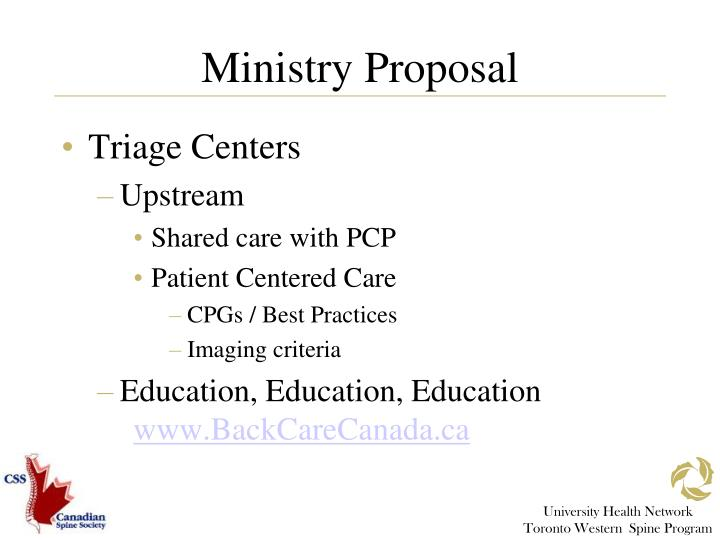 Ministry Proposal