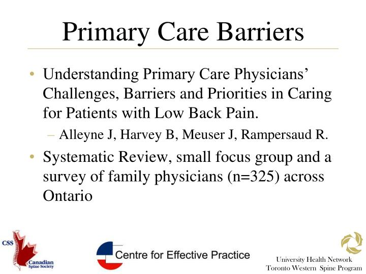 Primary Care Barriers