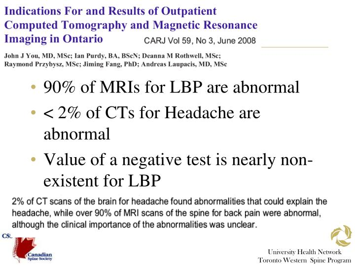 90% of MRIs for LBP are abnormal