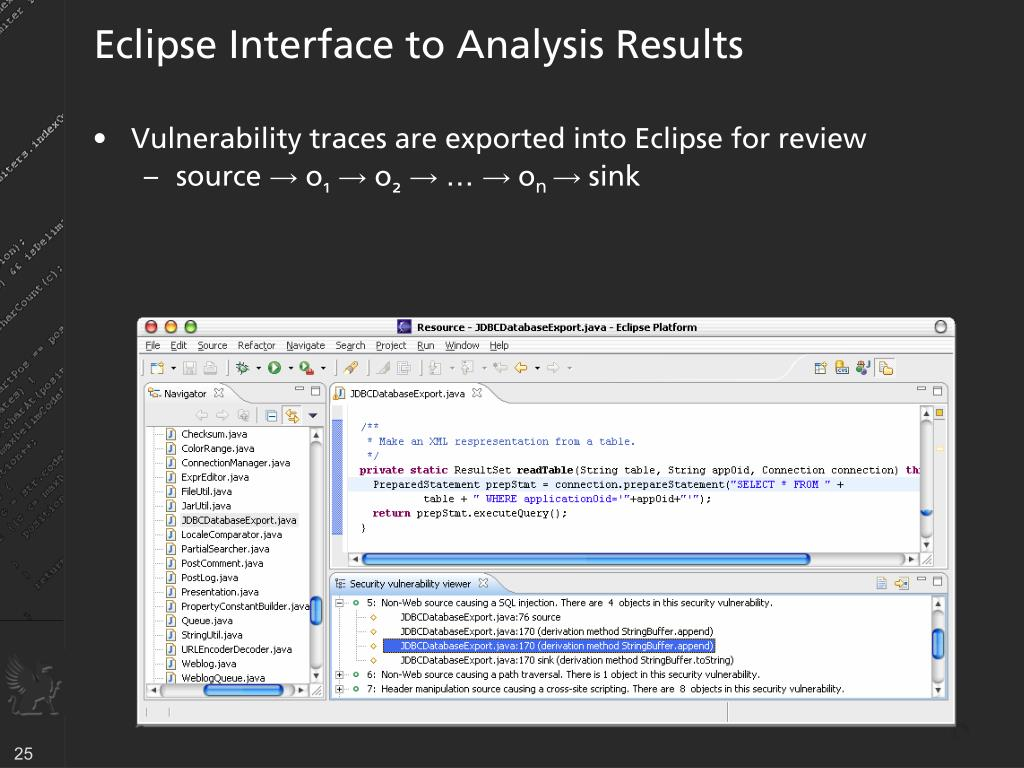 Eclipse Interface to Analysis Results
