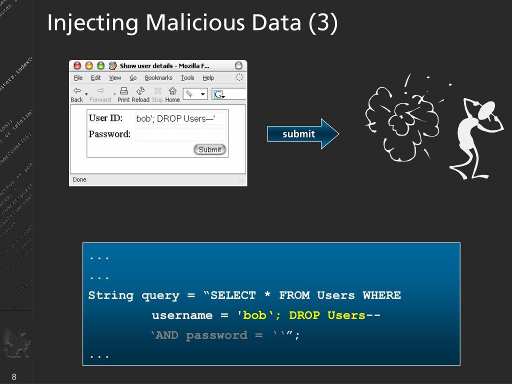 Injecting Malicious Data