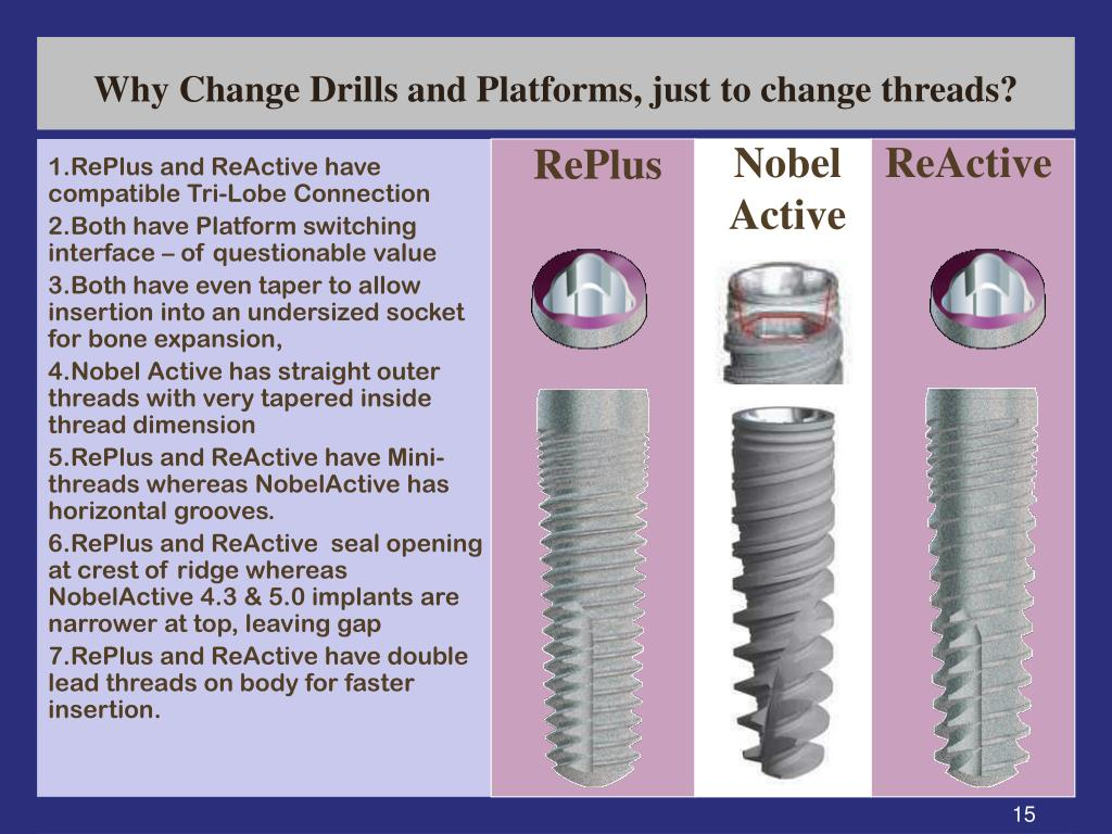 Why Change Drills and Platforms, just to change threads?