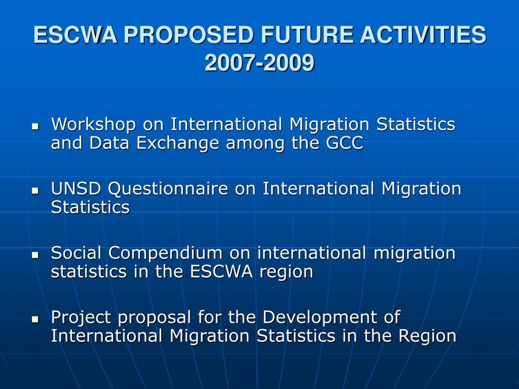 ESCWA PROPOSED FUTURE ACTIVITIES 2007-2009