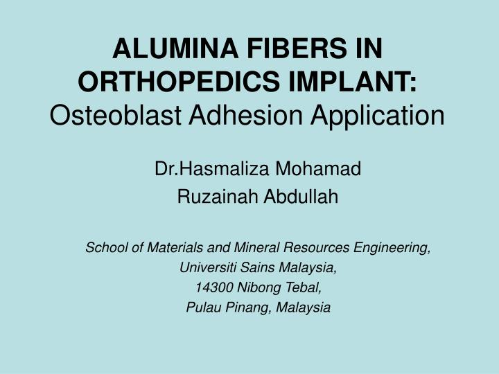 Alumina fibers in orthopedics implant osteoblast adhesion application