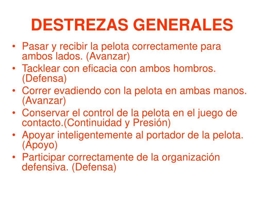 DESTREZAS GENERALES