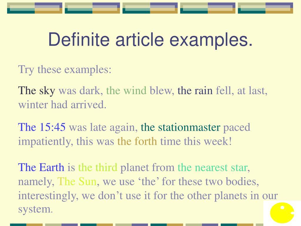 Definite article examples.