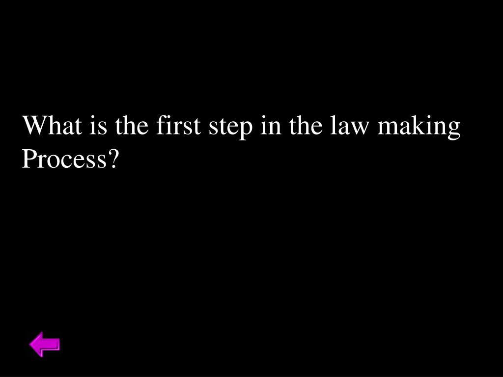 What is the first step in the law making