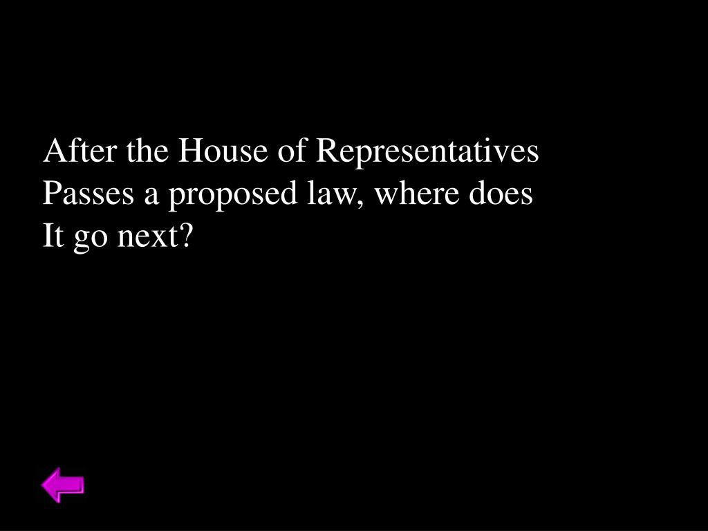 After the House of Representatives