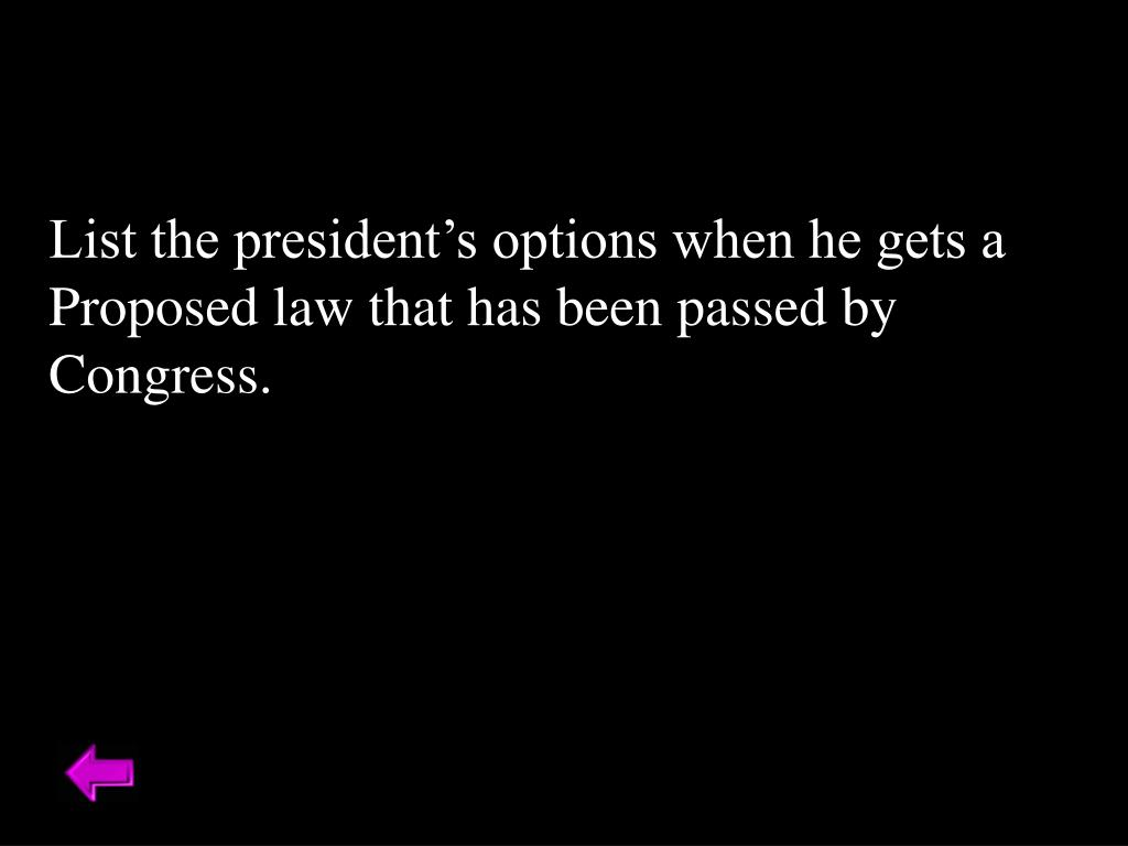 List the president's options when he gets a