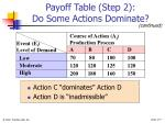 payoff table step 2 do some actions dominate7