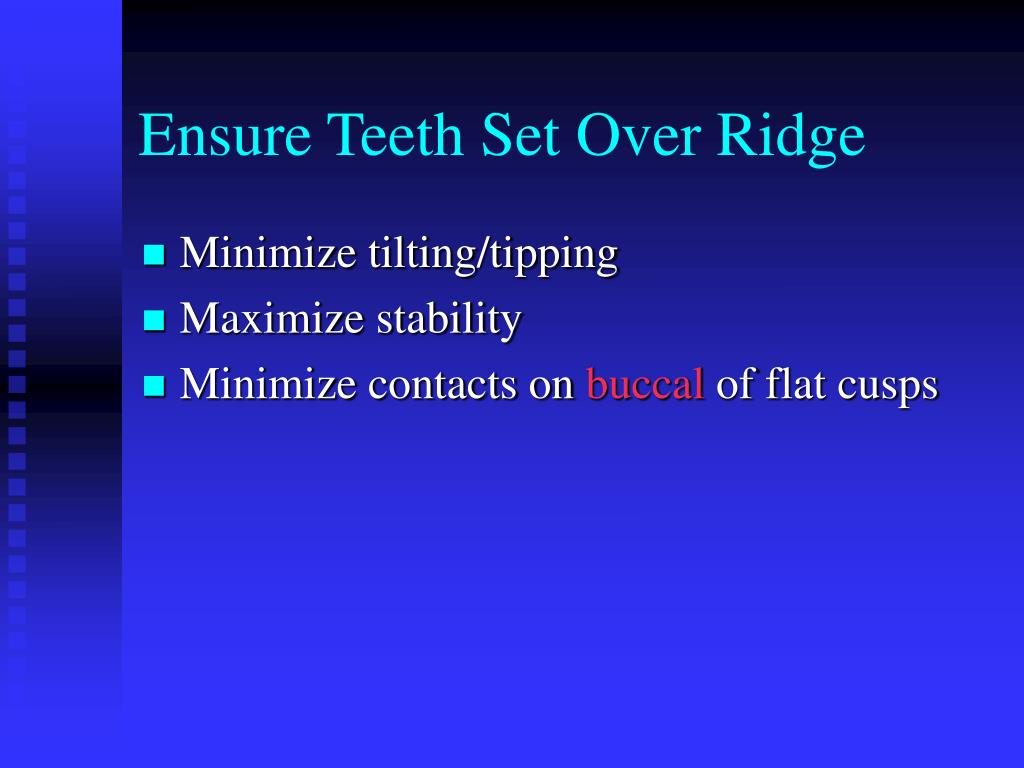 Ensure Teeth Set Over Ridge