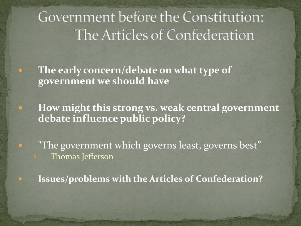 Government before the Constitution: