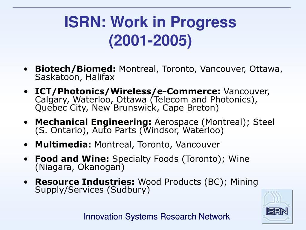 ISRN: Work in Progress