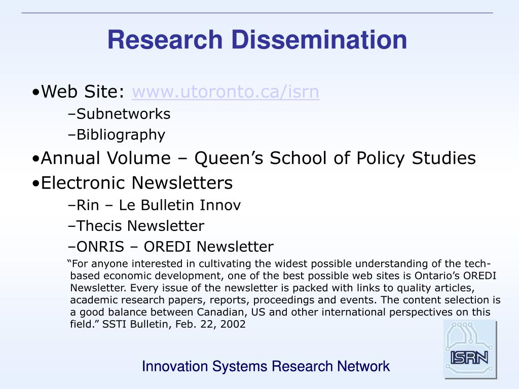Research Dissemination