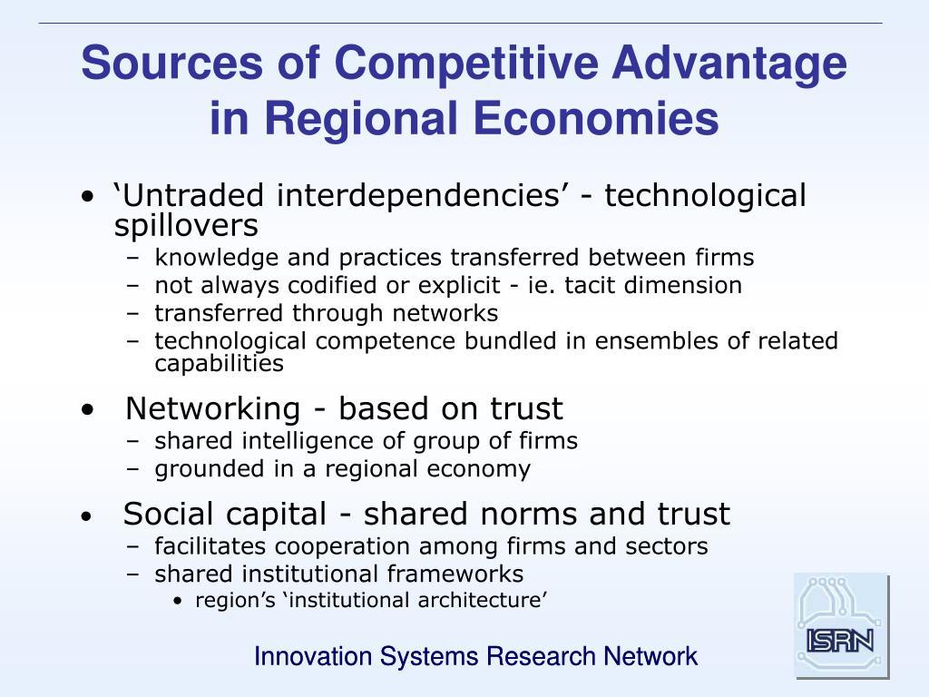 Sources of Competitive Advantage in Regional Economies
