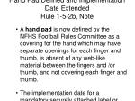 hand pad defined and implementation date extended rule 1 5 2b note