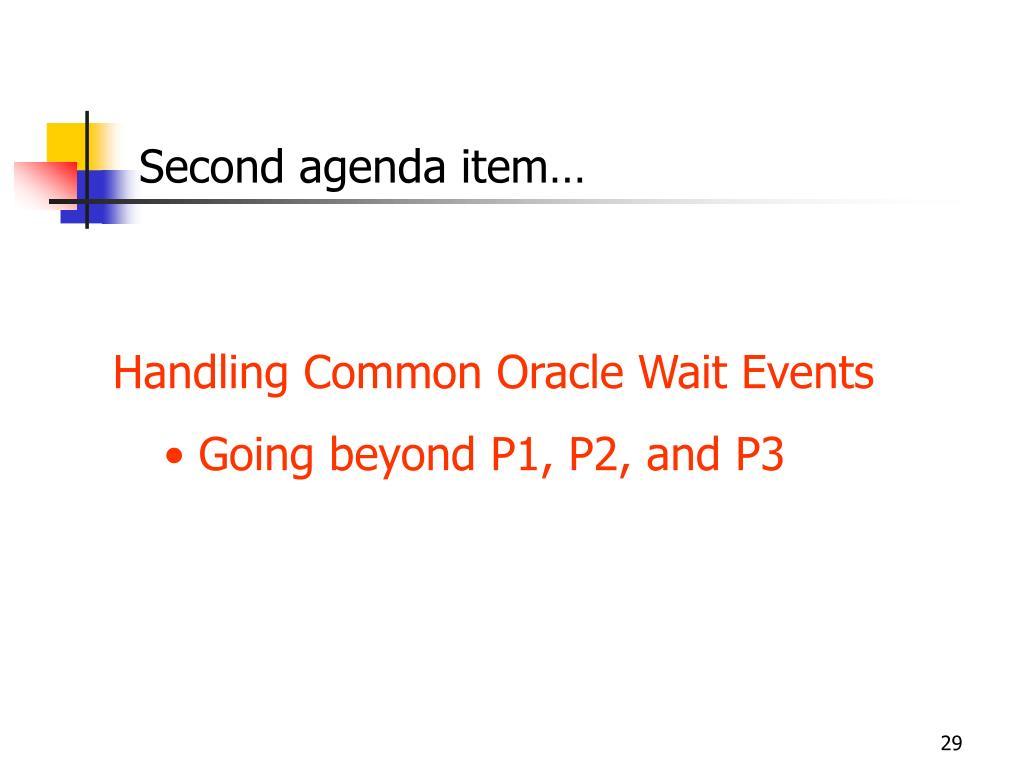 Second agenda item…