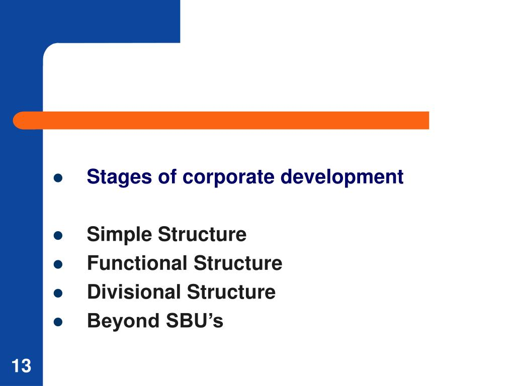Stages of corporate development