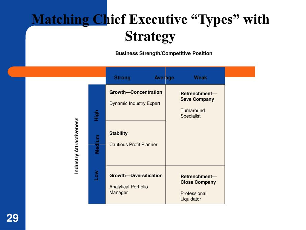 """Matching Chief Executive """"Types"""" with Strategy"""