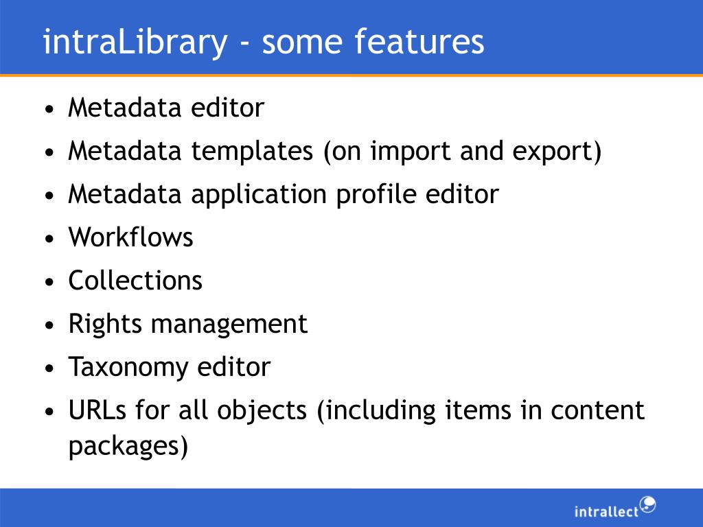 intraLibrary - some features