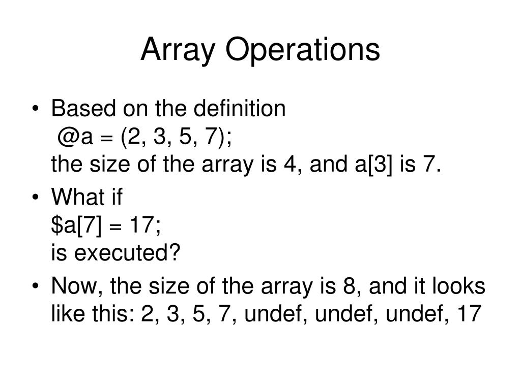 Array Operations