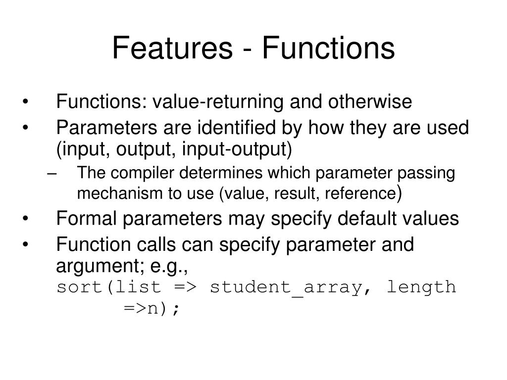 Features - Functions