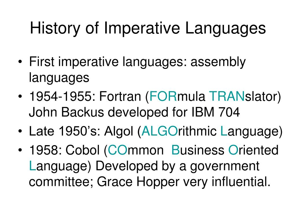 History of Imperative Languages