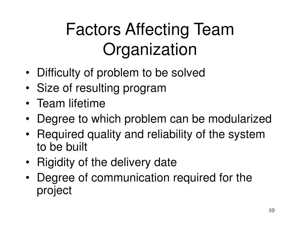 Factors Affecting Team Organization