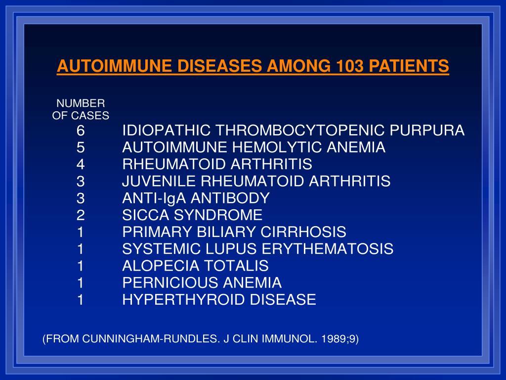 AUTOIMMUNE DISEASES AMONG 103 PATIENTS