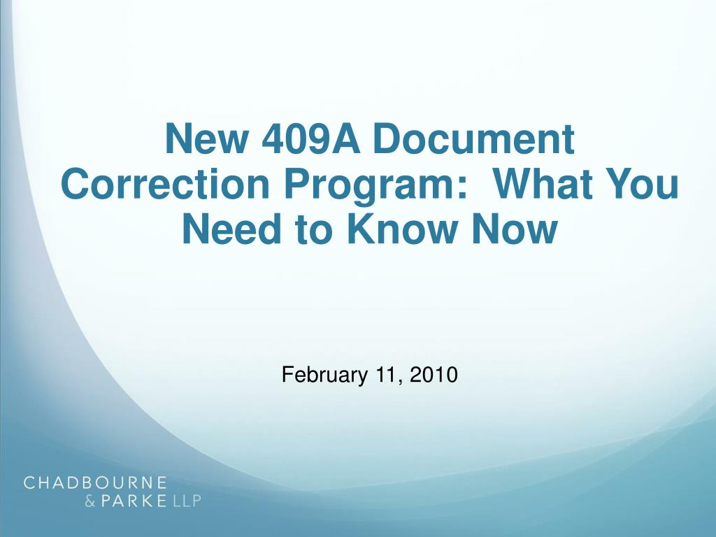 new 409a document correction program what you need to know now l.
