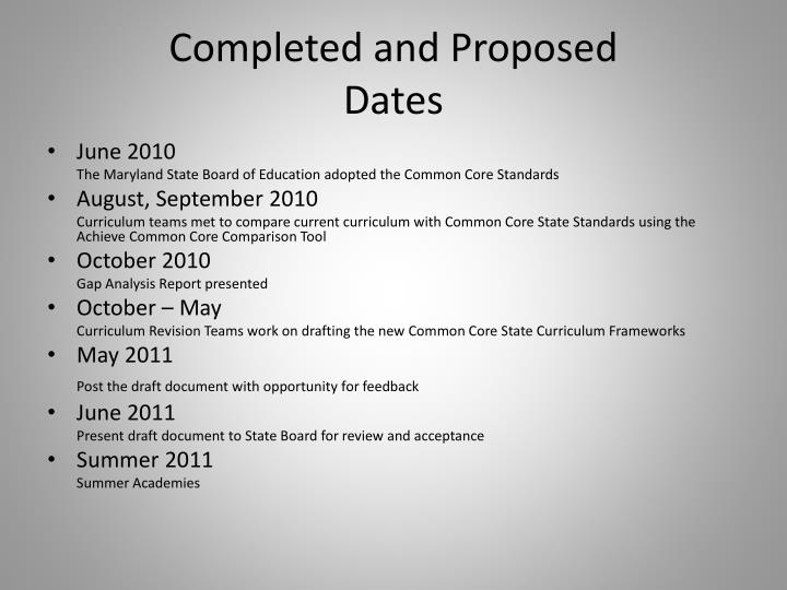 Completed and proposed dates