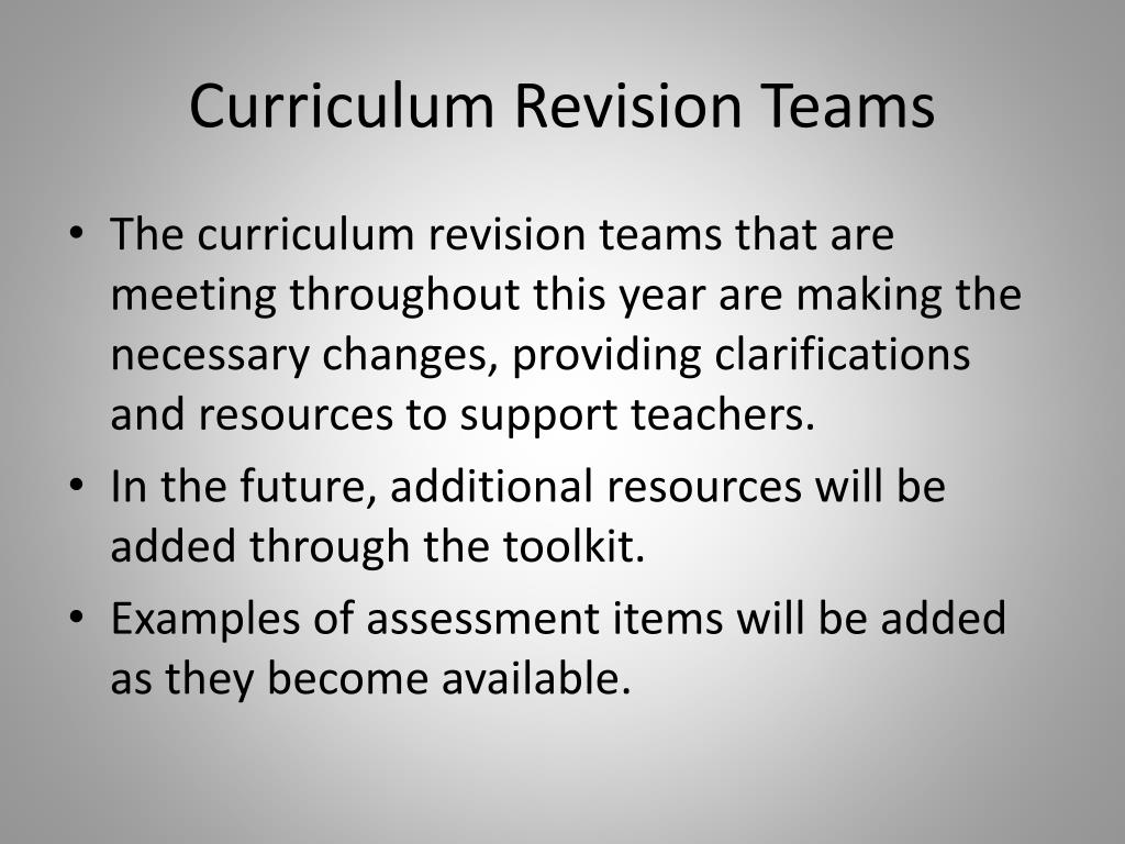 Curriculum Revision Teams