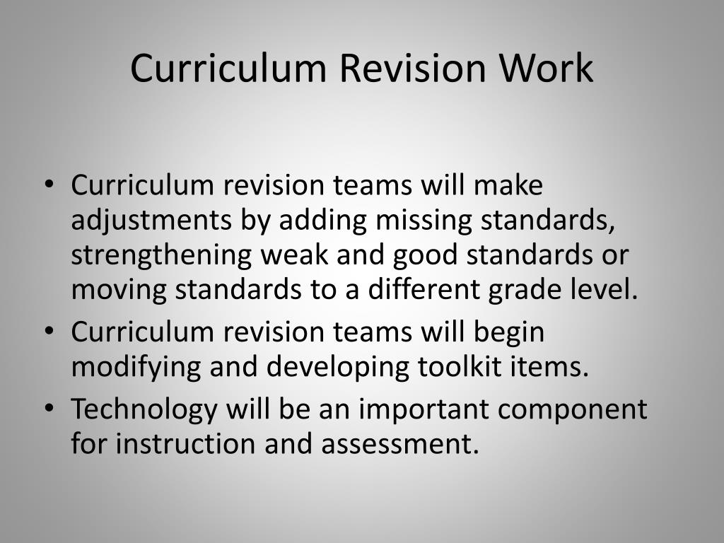 Curriculum Revision Work