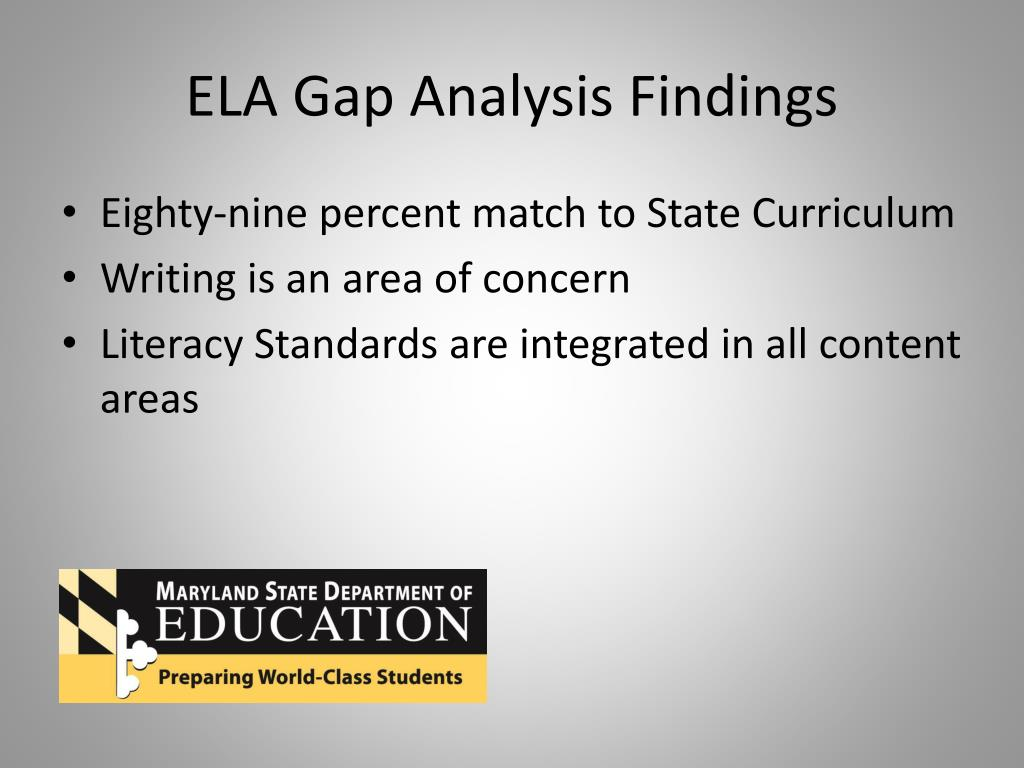 ELA Gap Analysis Findings