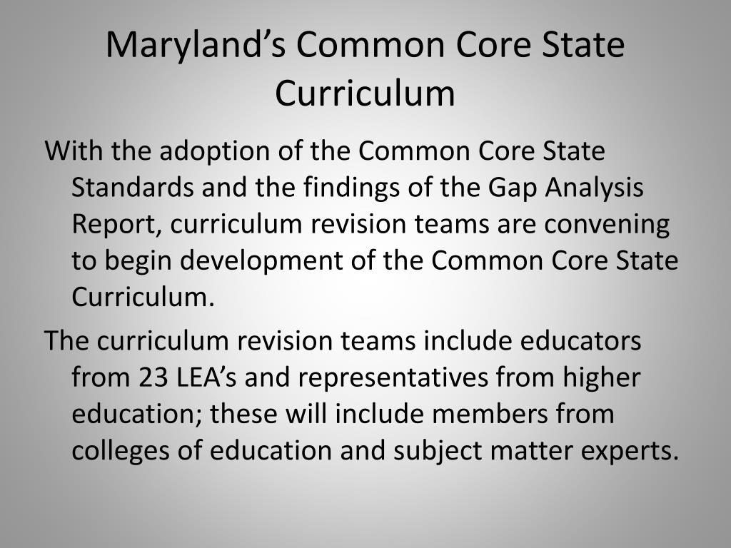 Maryland's Common Core State Curriculum
