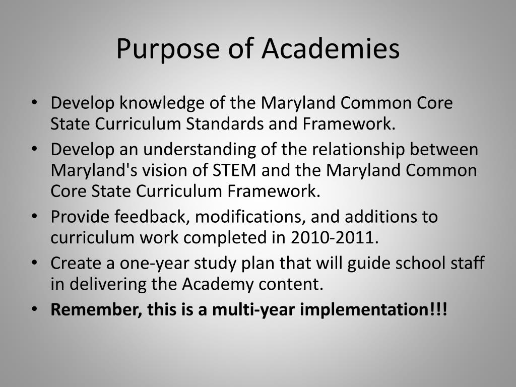 Purpose of Academies
