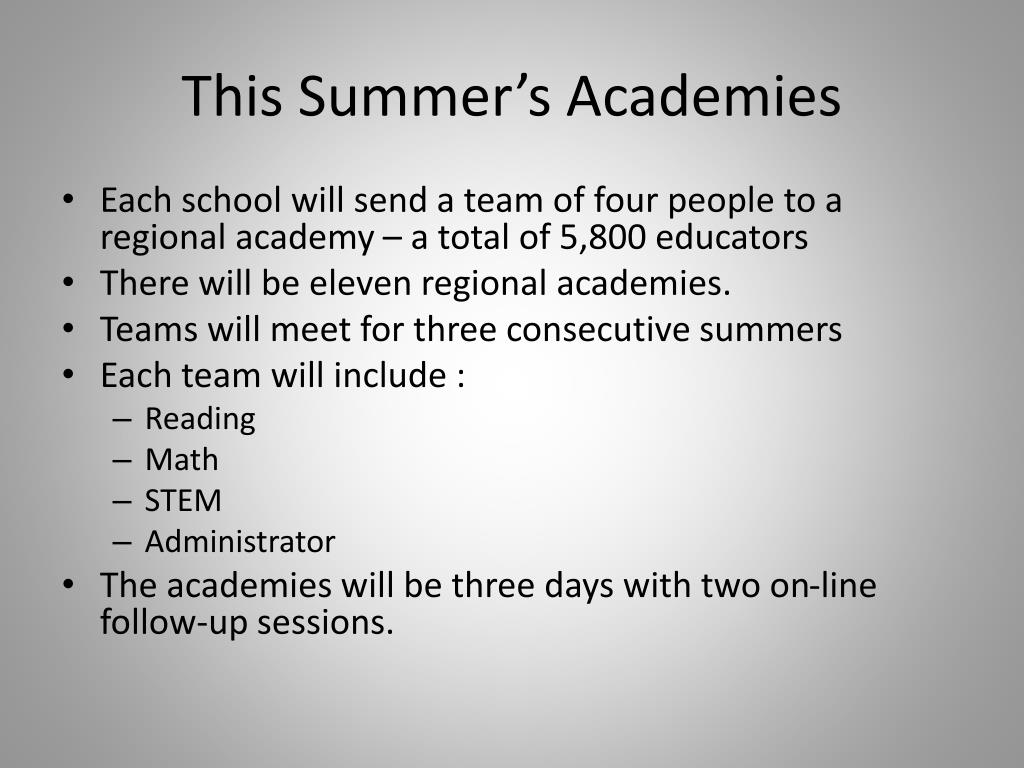This Summer's Academies